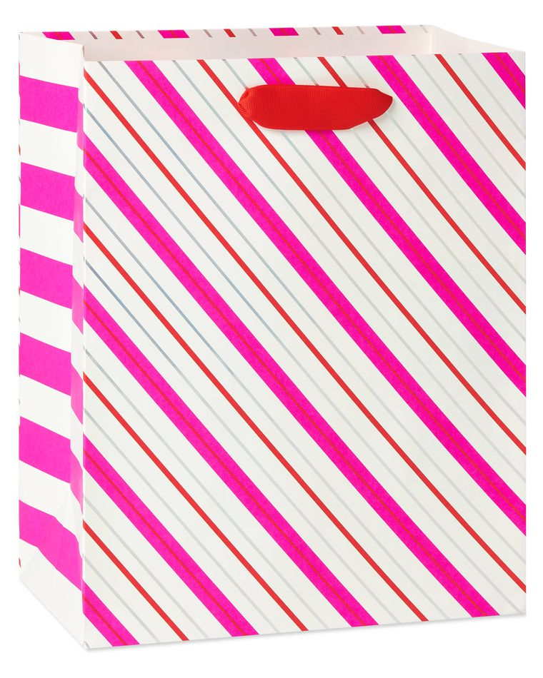 Large Valentine's Day Gift Bag, Stripes, 1-Count