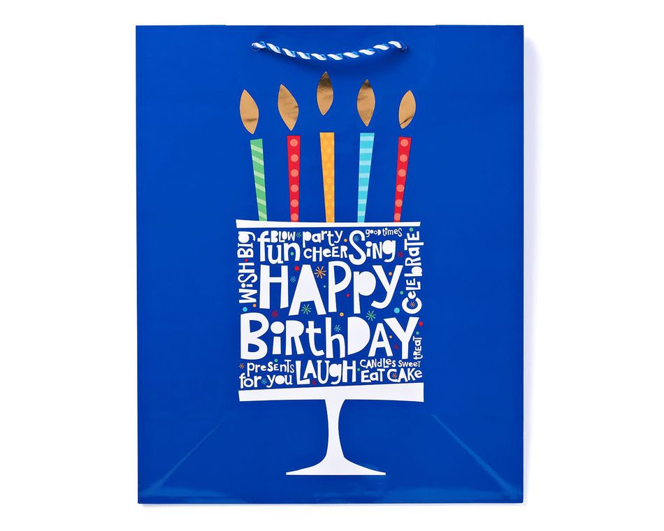 extra large happy birthday confetti design gift bag
