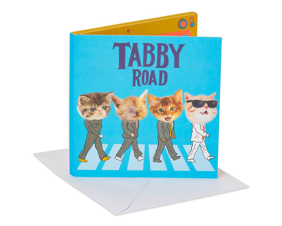 The Beatles Tabby Road Pop-Up Birthday Card with Music
