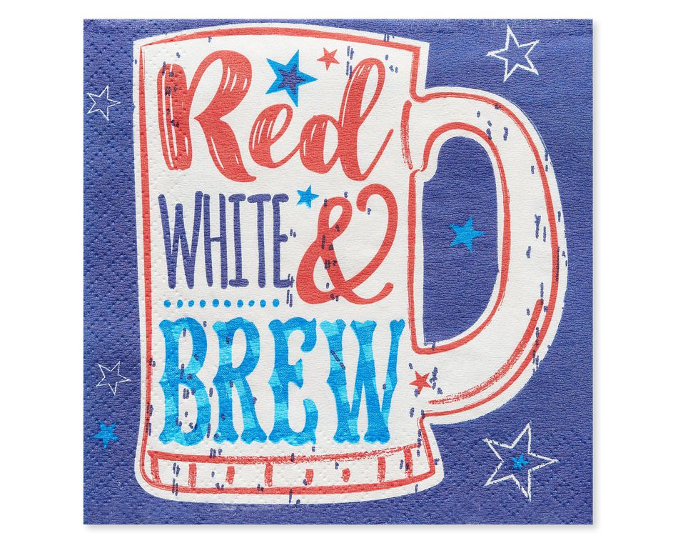 Patriotic Beverage Napkins, 16-Count