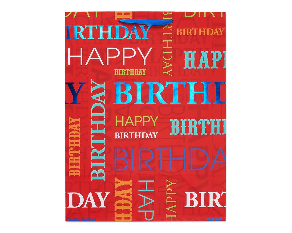 large red happy birthday gift bag