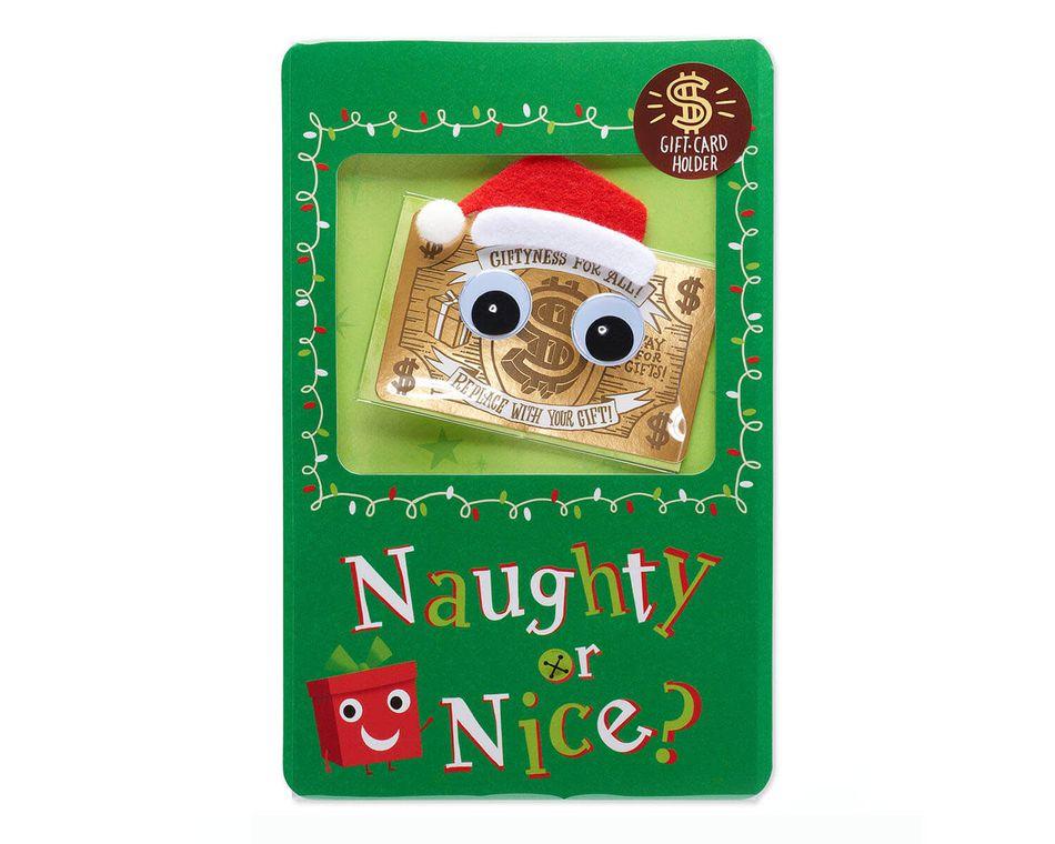 Naughty or Nice Gift Card Holder Christmas Card