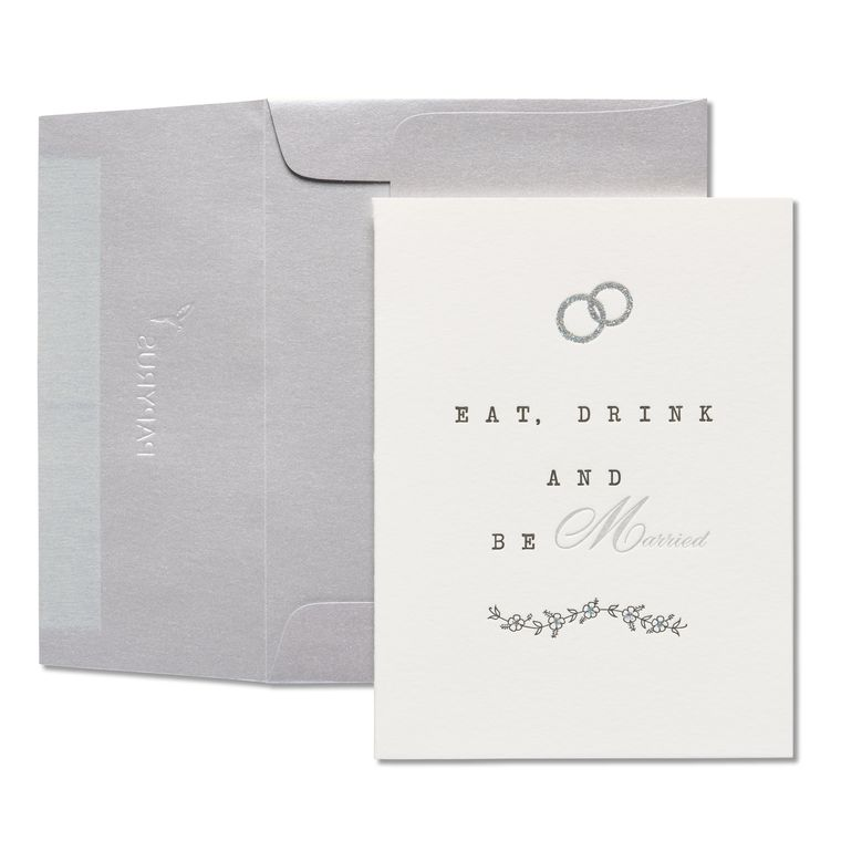 Eat, Drink, Be Married Wedding Greeting Card