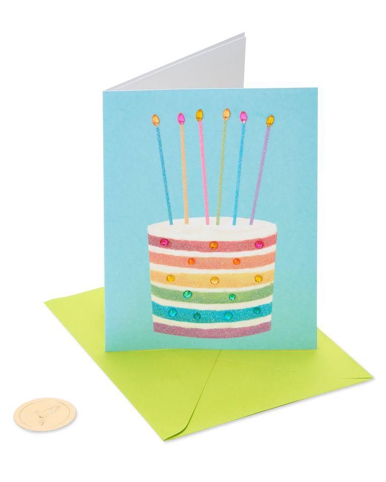 Glittered Rainbow Cake Birthday Greeting Card