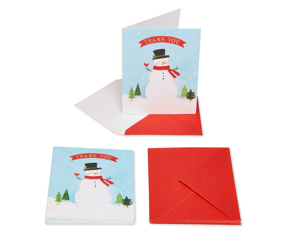 Snowmen Christmas Thank You Note Cards and Envelopes, 10-Count