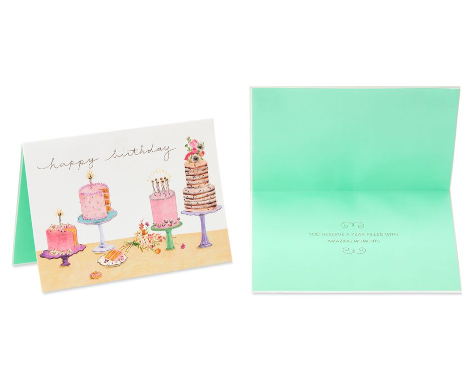 Cakes Birthday Greeting Card Bundle for Her, 2-Count