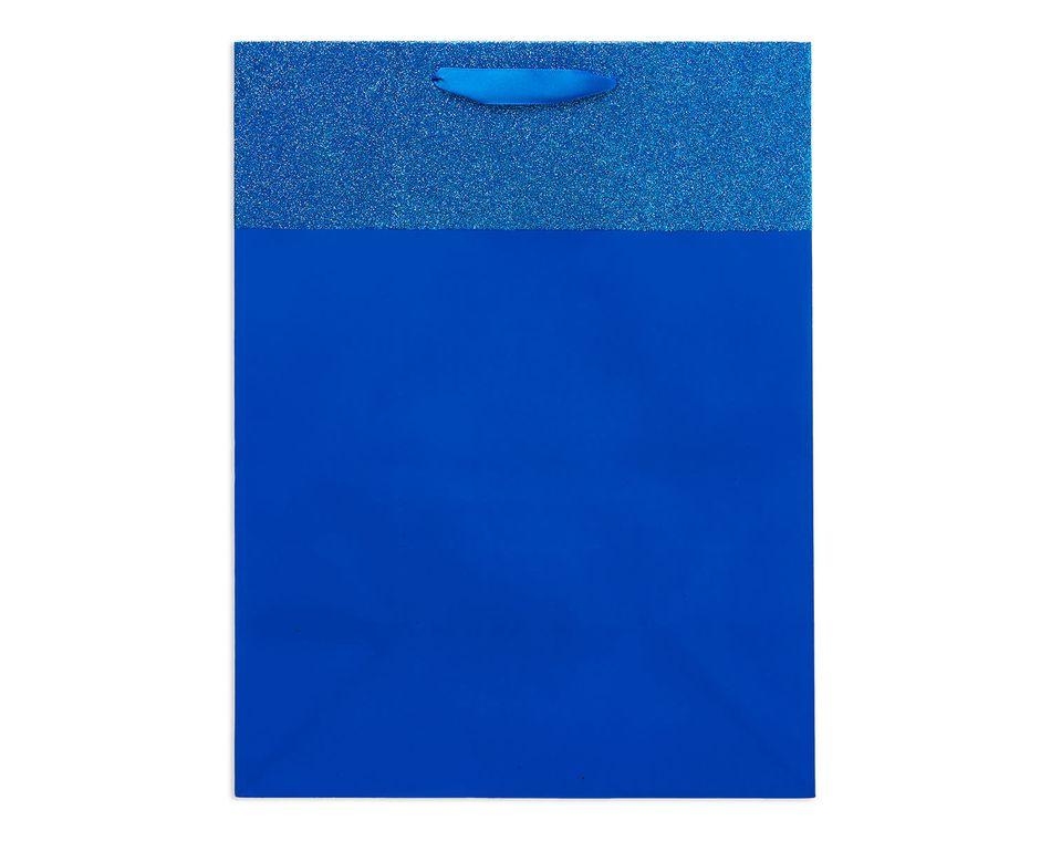 medium blue glitter gift bag