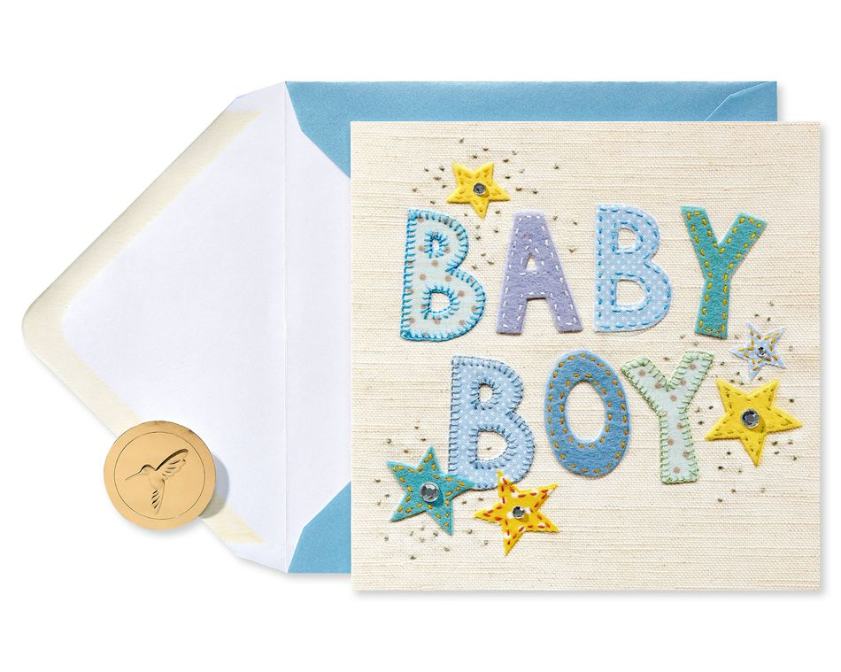 Patchwork Baby Boy New Baby Greeting Card