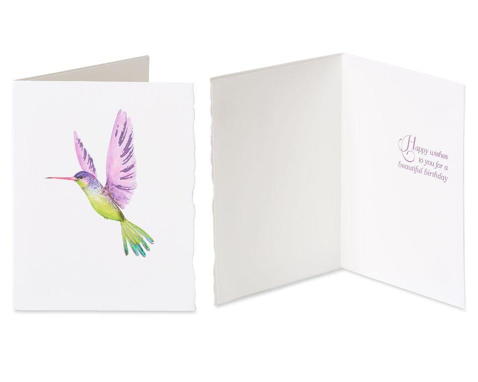 Flowers and Hummingbird Birthday Greeting Card Bundle, 2-Count