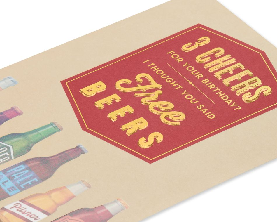 Free Beers Funny Birthday Greeting Card for Him