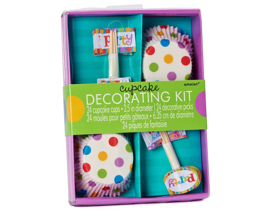 dots & stripes cupcake decorating kit 24 ct