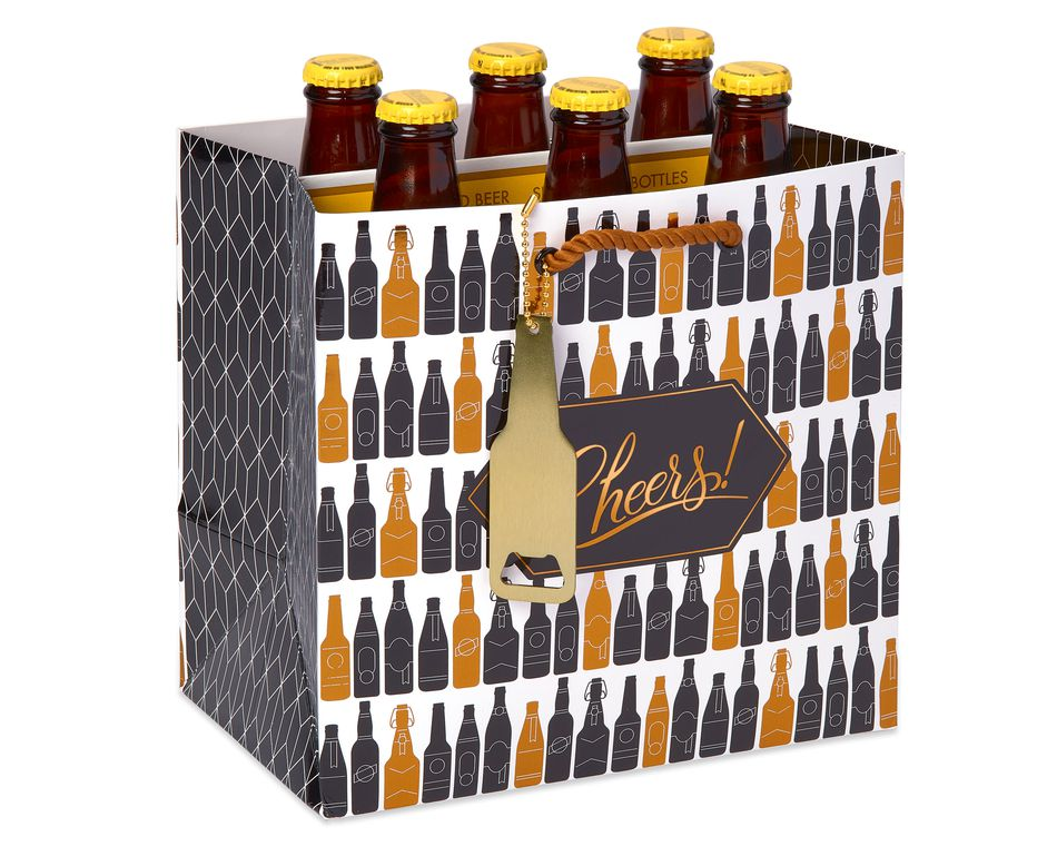 Beer Gift Bag, Bottles and Glasses, 1-Count