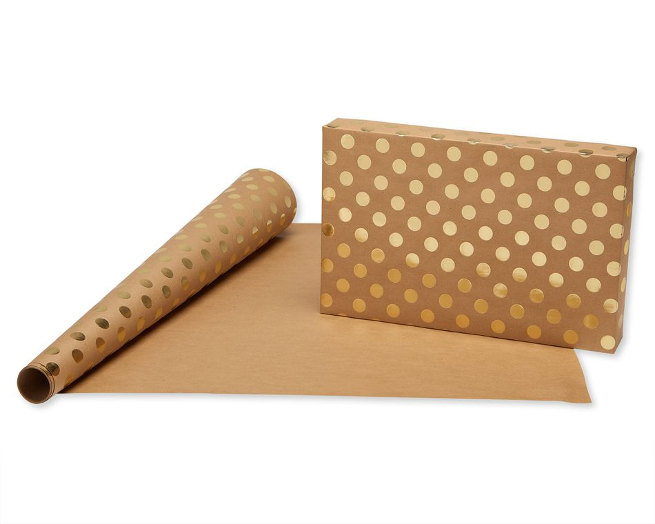 American Greetings Wrapping Paper, Kraft and Gold Polka Dots, 3-Count