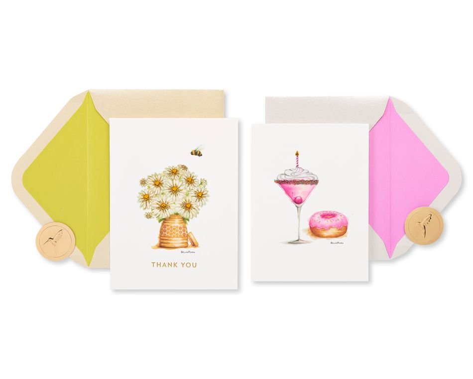 Daisies and Drinks Thank You Greeting Card Bundle, 2-Count