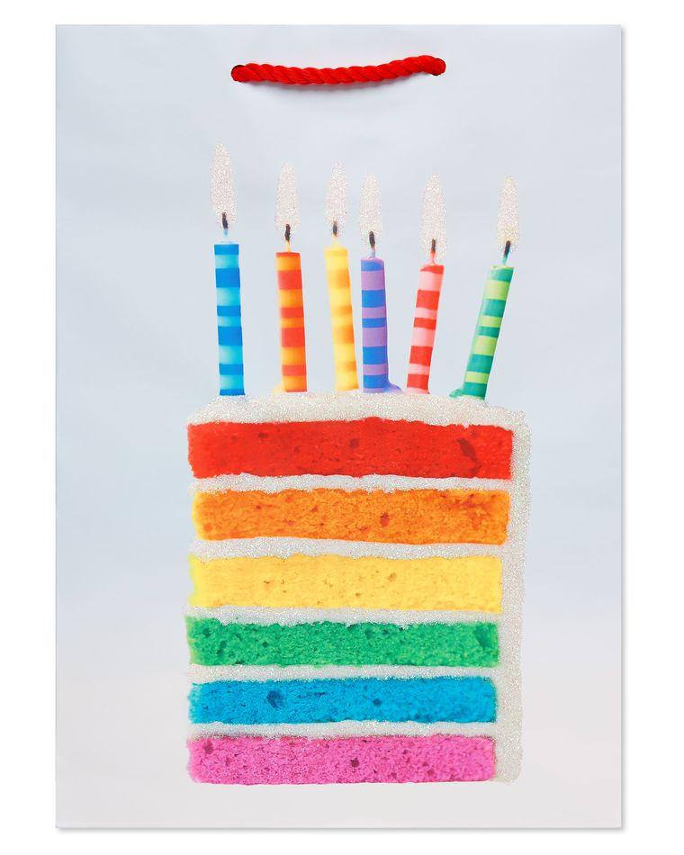 Rainbow Cake Slice and Candles Small Birthday Gift Bag