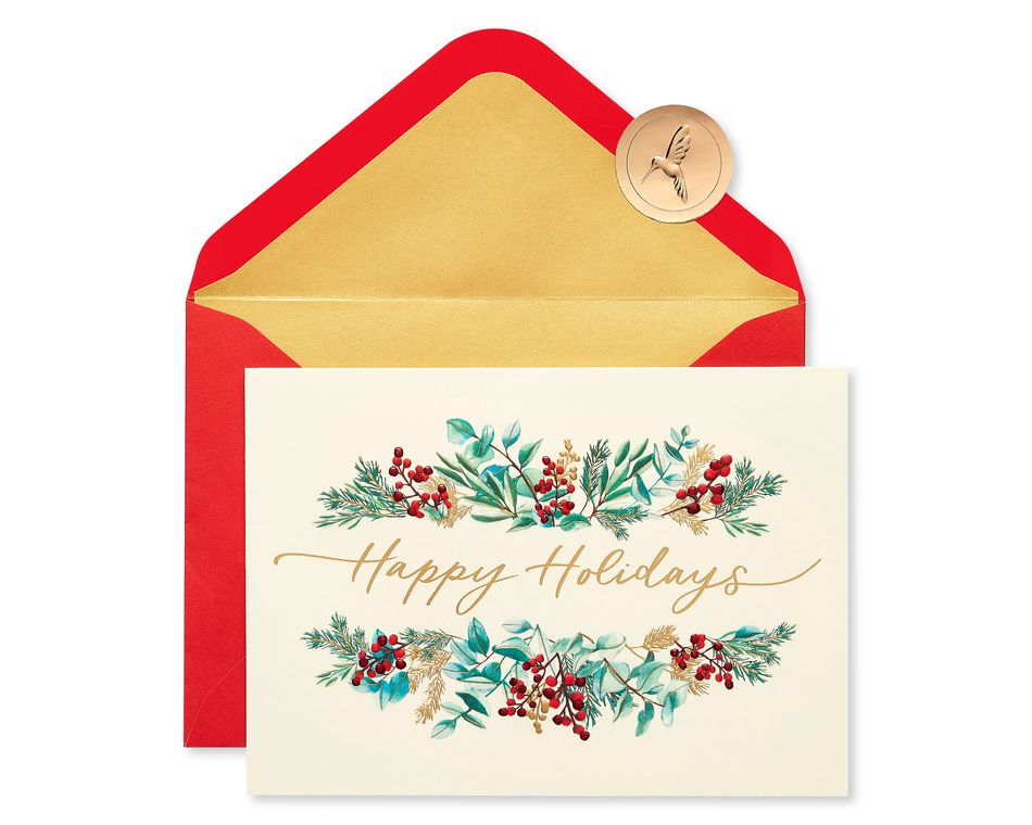 Greenery Holiday Boxed Cards, 12-Count