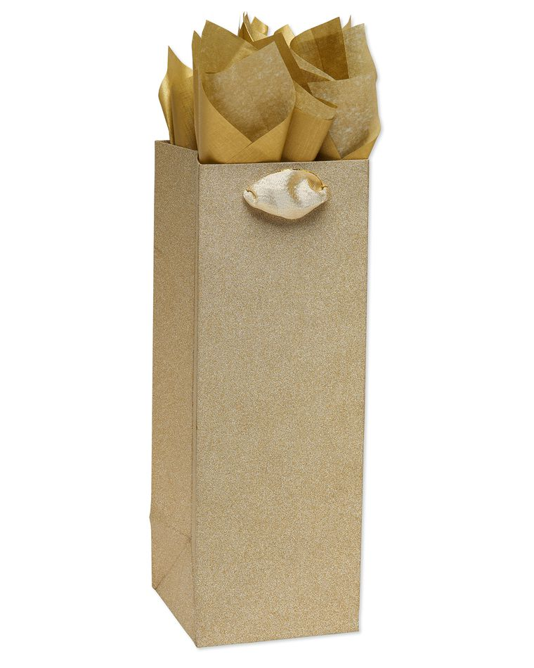 Gold Glitter Beverage Gift Bag with Gold Linen Tissue Paper, 1 Gift Bag and 4 Sheets of Tissue Paper