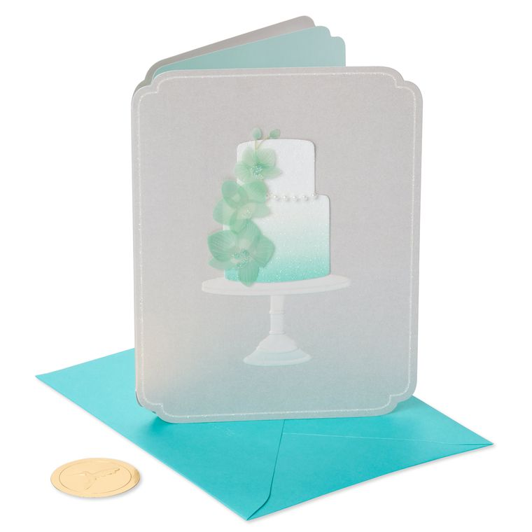 Orchid Cake Wedding Greeting Card