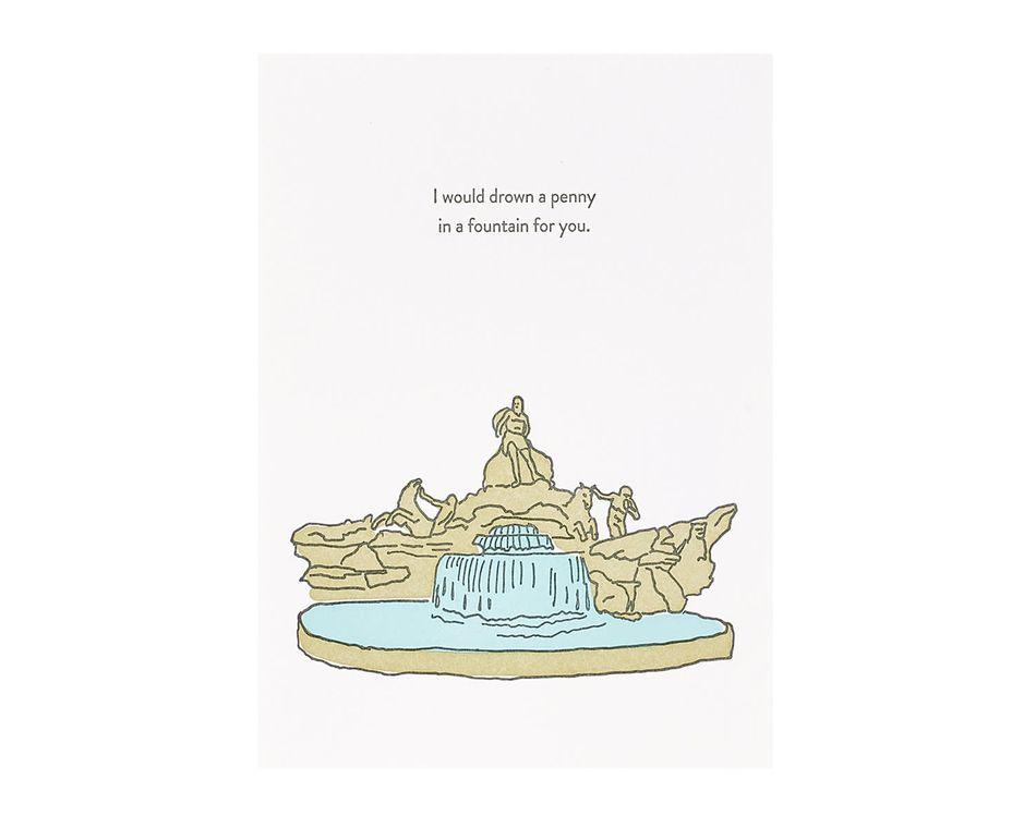 Drown A Penny Good Luck Card