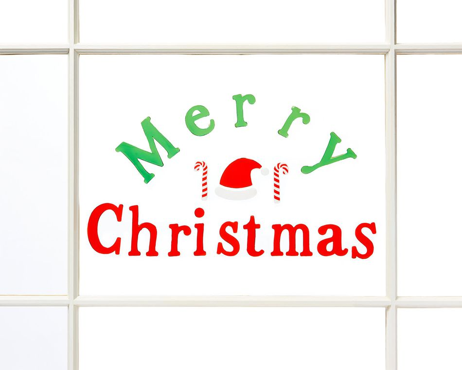 Merry Christmas Gel Window Cling