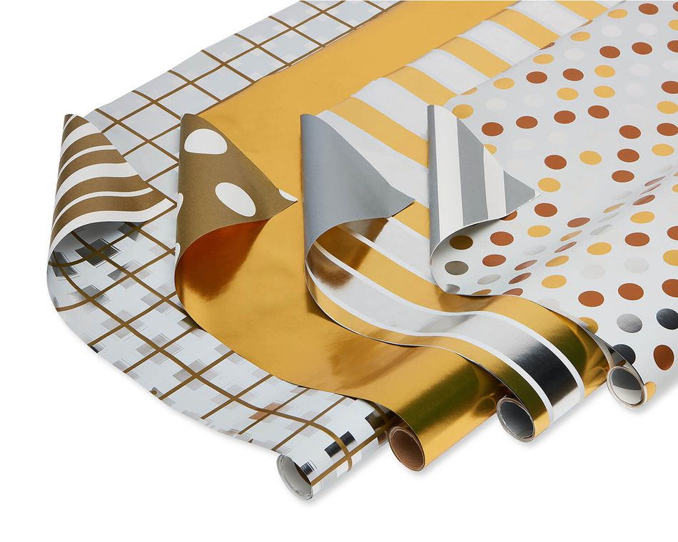 Christmas Reversible Wrapping Paper, Gold and Silver Plaid, Stripes, Polka Dot and Solids,  4-Rolls, 80 Total Sq. Ft.