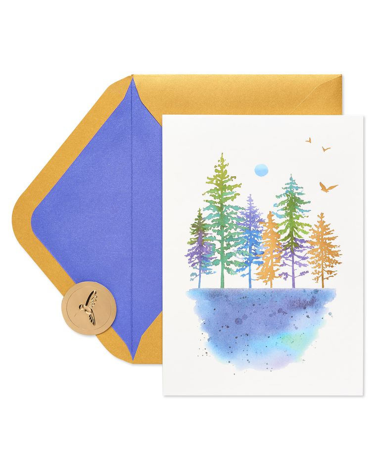 Watercolor Trees Thinking of You Blank Greeting Card