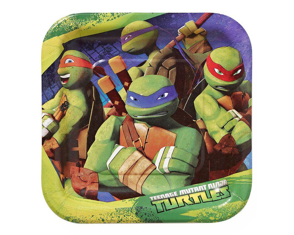 teenage mutant ninja turtles dessert  square plates 8 ct