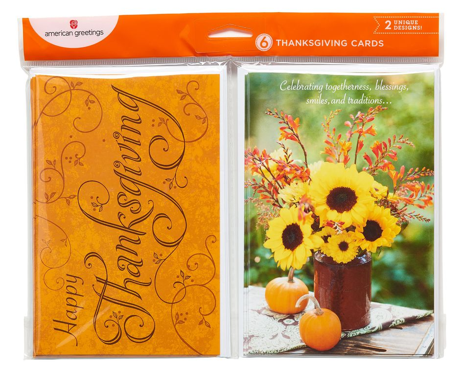 Orange and Sunflower Thanksgiving Cards, 6-Count
