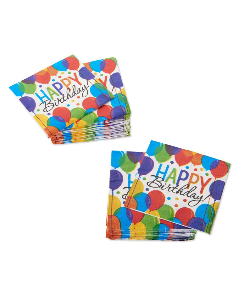 Happy Birthday Balloon Beverage Napkins, 125-Count