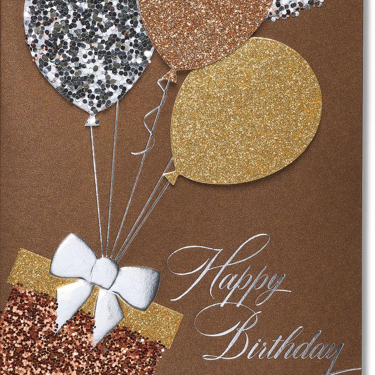 Glitter Balloons Birthday Greeting Card