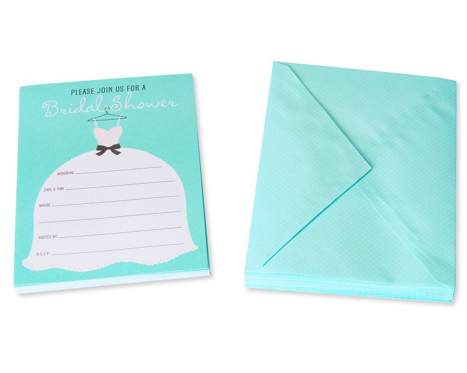 Glitter Wedding Dress Bridal Shower Invitations and Aqua Dotted Envelopes, 20-Count