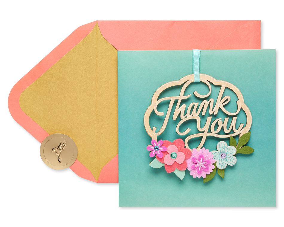 Wood WreathThank You Greeting Card