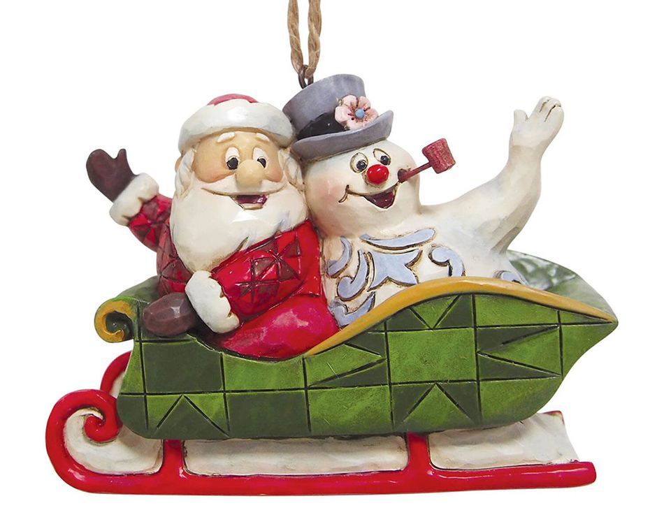Jim Shore Frosty and Santa Ornament