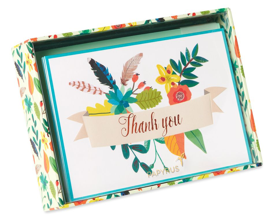 Floral Banner Thank You Boxed Blank Note Cards with Envelopes, 12-Count