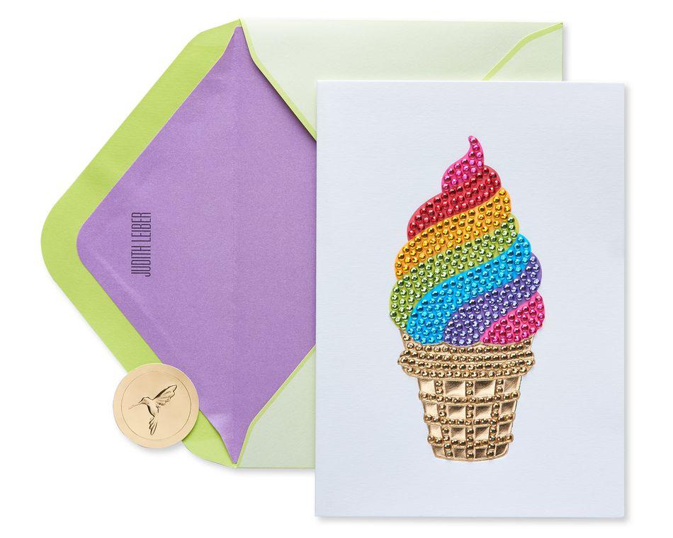 Gemmed Ice Cream Cone Birthday Greeting Card