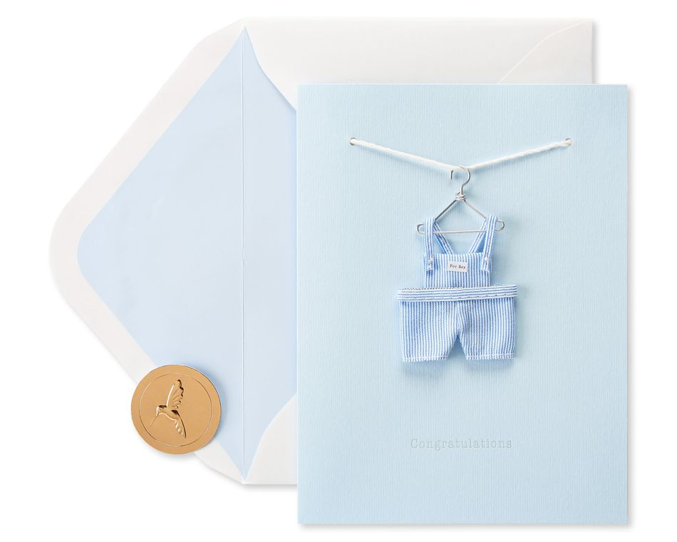 Tiny Tots Overalls New Baby Greeting Card