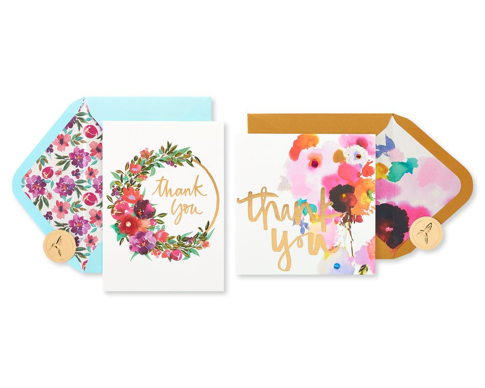 Floral Thank You Greeting Card Bundle, 2-Count