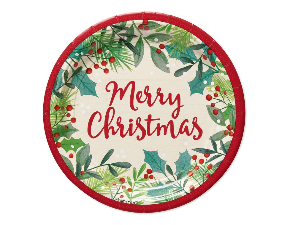 Merry Christmas Holly 8-Count Dessert Plate