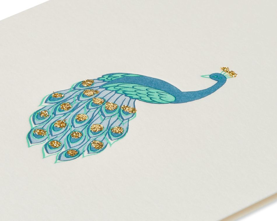 Peacock Thinking of You Blank Greeting Card