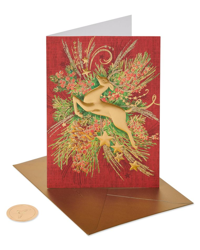 Gold Reindeer Holiday Boxed Cards, 12-Count