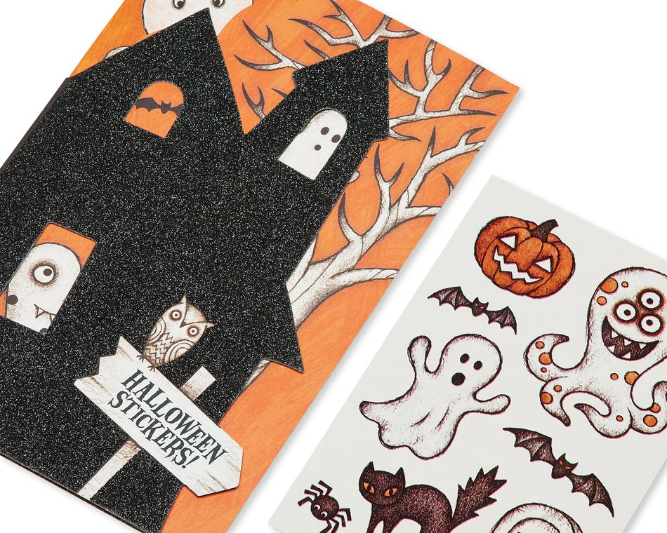 Haunted House Halloween Card with Stickers