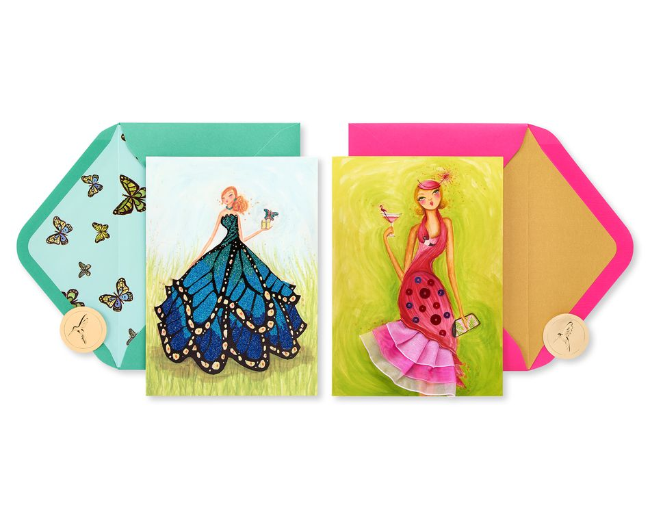 Flamingo and Butterfly Birthday Greeting Card Bundle for Her, 2-Count