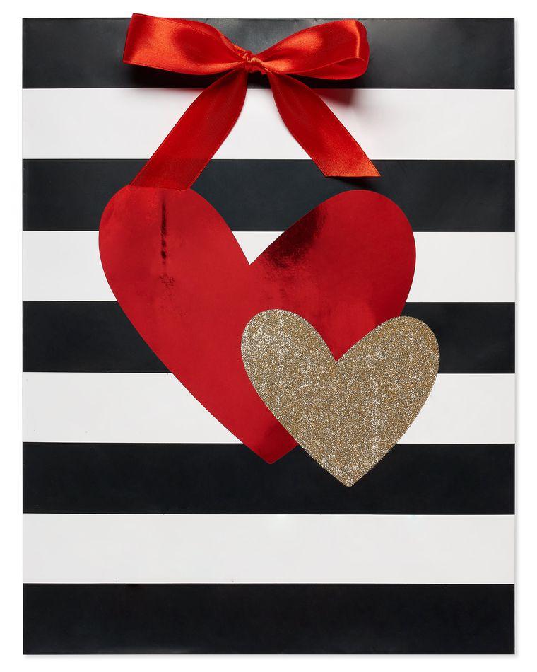 Medium Gold Glitter and Red Foil Heart Gift Bag