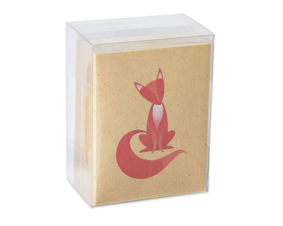 Red Fox Blank Note Cards and Envelopes, 50-Count