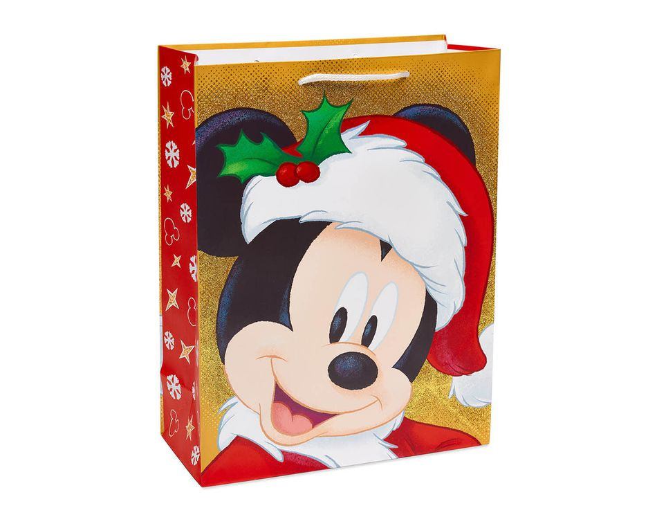 Mickey Mouse Christmas Gold Glitter Medium Gift Bag