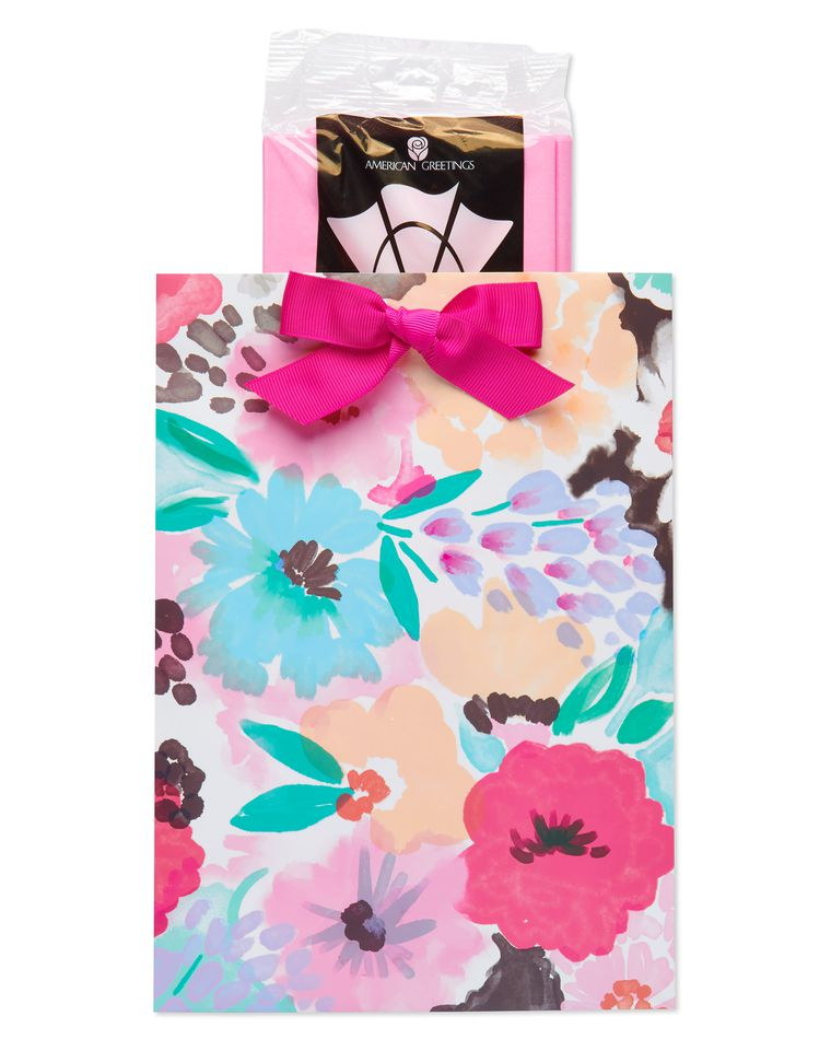 Medium Painted Floral Gift Bag with Tissue Paper; 1 Gift Bag and 6 Sheets of Tissue Paper