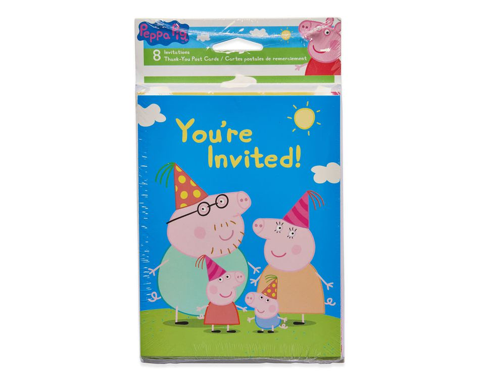 Peppa Pig Invite and Thank You Combo Pack, 8 Count