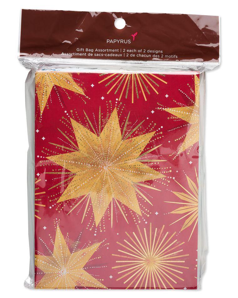 Christmas Magic Stars and Ornaments Medium Gift Bag Set, 4-Count