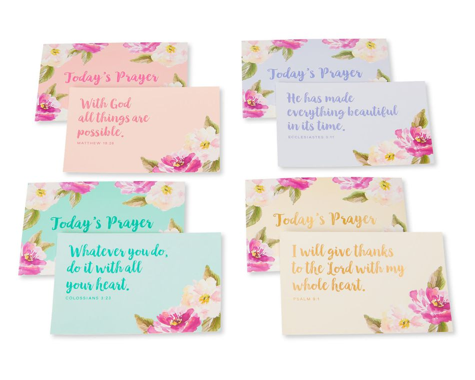 Eccolo Christian Collection Prayer Cards Mint Floral, 36-Count