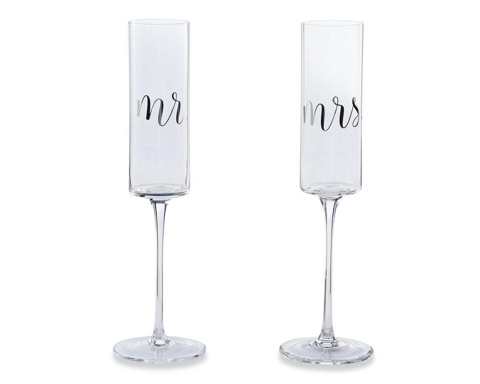 Mud Pie Mr. & Mrs. Wedding Champagne Glass Set, 2-Count